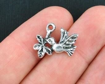 12 Bird Charms Antique Silver Tone Bird with Branch - SC3774