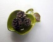 Vintage Small Ceramic Green Apple Dish - Home Decor
