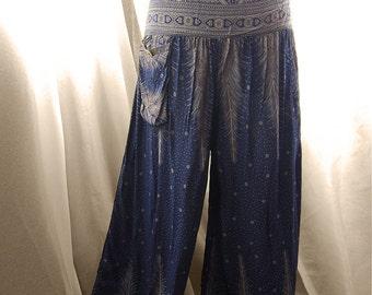 Yoga Pants Boho Harem Palazzo Gypsy Wide Leg Hippie Cotton Aladin Bohemian Moroccan Navy Blue Paisley Meditation Elven Lantern Grunge Eco
