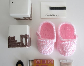 Flamingo Pink Handmade Baby Loafer Booties size 1