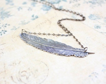 Silver Feather Necklace Statement Necklace Bird Feather Pendant Necklace Woodland Jewelry Nature Inspired Modern Accessories