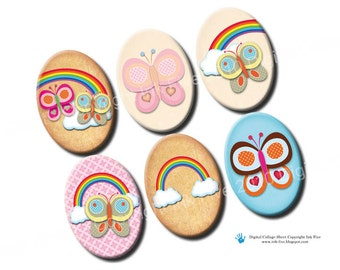 Summer Butterflies digital collage sheet 18x25 mm ovals. Printable images for 18 x 25 mm cabochons, pendants, cameos. Butterfly rainbow