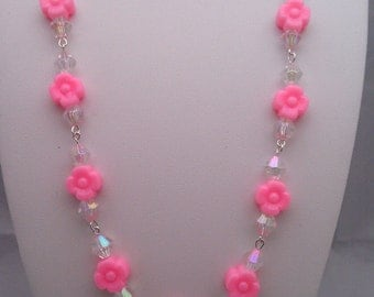 Pink Acrylic Flowers and Diamonds Necklace