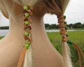Leather Hair TIes Wraps Ponytail Holders Beaded Extensions Suede with Lime Green and Bottle Green Glass Beads