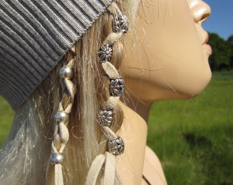 Hair Jewelry Leather Hair Ties Wraps Ponytail holders Silver Beads Suede Braided Plaited Hair Ties  Z106