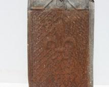 Vintage Ceiling Tile Tin Rusty Distressed Fleur De Lis Salvage