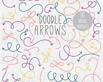 Doodle Arrows Photoshop Brushes, Hand Drawn Curly Arrows Photoshop Brushes - Commercial and Personal Use