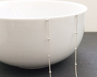 Simple Sterling Silver Layering Necklace - Satellite Chain Necklace, Layering Jewelry, Wedding Jewelry, Bridesmaid Gift, Gifts For Her