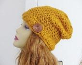 Crochet Pattern, Crochet Slouchy Hat Pattern, Slouchy Beanie Pattern, Cable Brim Hat Pattern, Sydney Slouchy Hat,