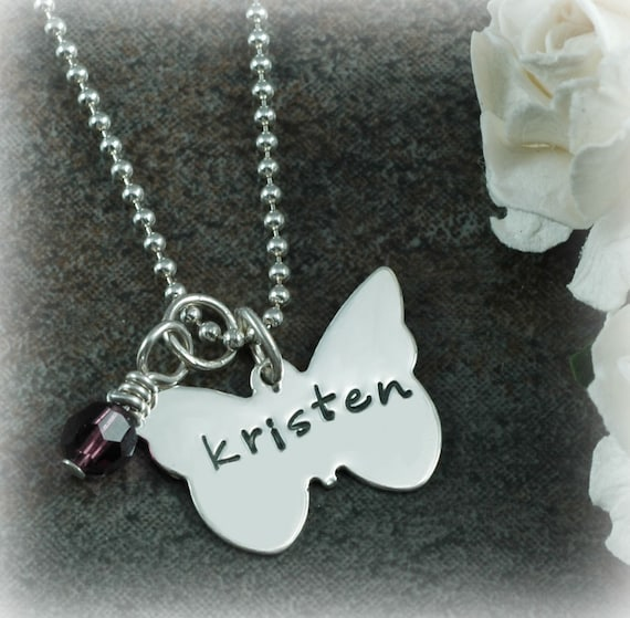 Butterfly Necklace - Personalized Butterfly -  with Birthstone or Pearl - Sterling Silver