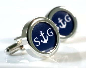 Anchor Cufflinks Initial Personalized Cufflinks for a Nautical Theme - Choose Your Colour