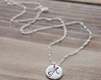 Pewter Initial Necklace - Silver Plated Pewter - Handstamped Circle - Mommy Necklace - Script or Typewriter Font - Valentine's Day Gift