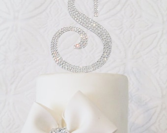 Perfect monogram cake toppers - Swarovski crystal handmade custom wedding cake toppers with removable stakes.