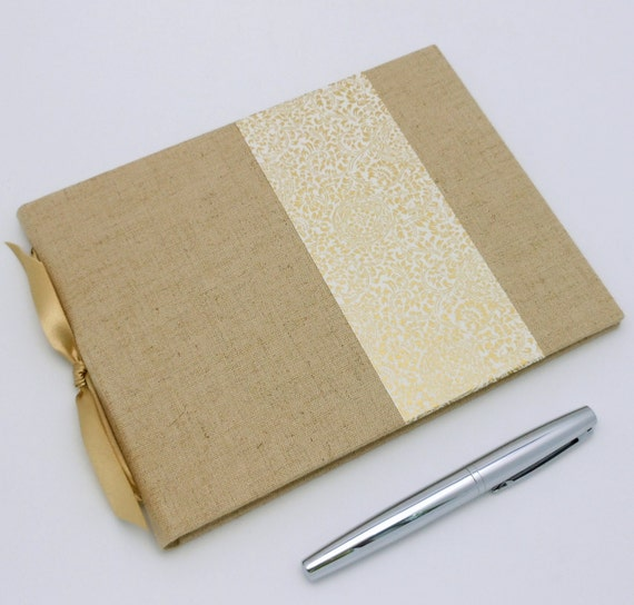 SALE Guest Book, Linen and Gold Unlined, Available Personalized, In Stock
