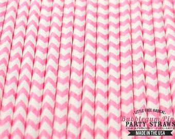 PINK Chevron Eco-friendly Paper Party Straws & Digital Flags - - -  Made in the USA - - - FDA approved - - - Ships within 1 Business Day