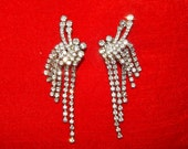 Beautiful large vintage 50's 60's atomic abstract rhinestones bombshell cocktail party clip on earrings