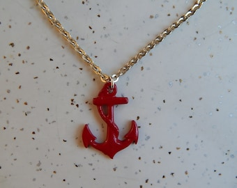 Vintage 60's red metal anchor light gold chain bombshell nautical pendant necklace pin up sailor