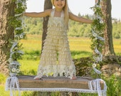 Sweet Piper..Vintage Chic Bell Bottom Romper..Cream/Beige Lace Petti Romper with Vintage  Lace Trim..Great for Photo Shoots and  Tea Parties