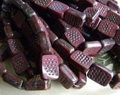 Picasso Rectangle Carved Window Beads, Pressed Czech Glass, 12 x 8mm, Burgundy Brick, Full Strand 15 Pcs.