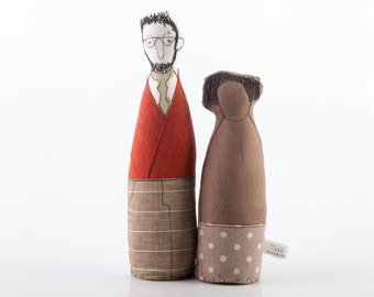 Mixed couple ,Lovers fabric dolls , He in  Red Jacket and striped  linen pants She in Brown canvas Polka Dots skirt  - timohandmade  doll