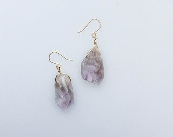 Rough Amethyst Earrings