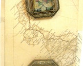 One Inch Designed Images Pair Map and Globe Picture Frame Square Shank Buttons for Crazy Quilting Fiber Arts