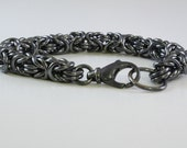 Men's Byzantine Bracelet, Sterling Silver,  Large lobster clasp, Chainmaille, Linked bracelet, Custom made
