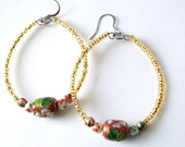 Eco- friendly gold and floral beaded hoops