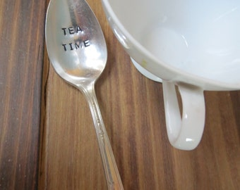 Vintage Teaspoon, Love Spoon, Custom Teaspoon, Tea Time, Hand Stamped Spoon, Mothers Day, Tea Lover, Table Decor, Weddings, Ready to Ship