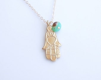 Hamsa Necklace with Chrysoprase in Gold