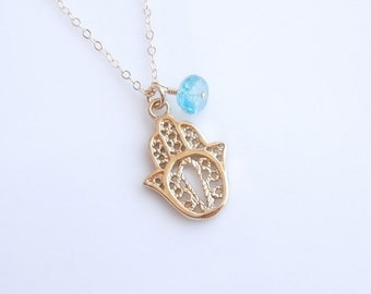 Hamsa Necklace with Apatite in Gold
