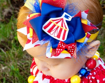 Baby Headband, Big Top Circus, Kinley Kate Limited Edition, bubble gum necklace, OTT baby bow, Boutique Bow, baby headband, cotton candy