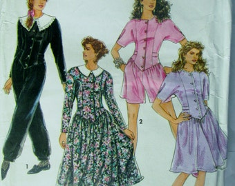 Simplicity 7616 Womens 90s Dress and Jumpsuit Sewing Pattern Bust 30 to 34