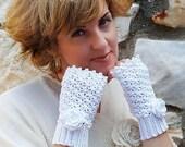 Crochet Fingerless gloves Wedding Victorian White Mittens Arm Wrist Warmers, Bridal.