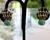 Showy Aqua Rhinestone Earrings, Firework or Comet Style
