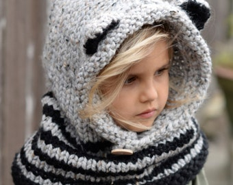 Knitting PATTERN-The Ryder Raccoon Cowl (12/18m, Toddler,Child, Adult sizes)