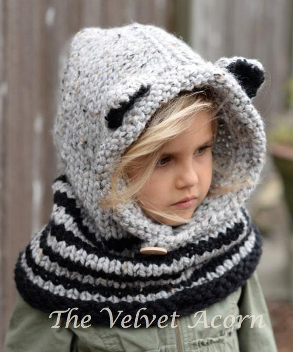 Knitting PATTERN-The Ryder Raccoon Cowl 12/18m