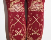 Pirate Tights Small Medium Gold on Burgundy Red Berry Cranberry Oxblood Wine Claret Bordeaux Lolita