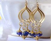 Violet Tanzanite Earrings, Chandelier Earrings, Dangle Earrings, Drop Earrings, Gold Earrings, Birthstone, Bridal Jewelry, Valentine Gift