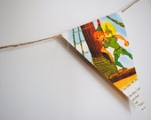 "Vintage ""LITTLE GOLDEN BOOK Peter Pan And The Pirates, double sided bunting / banner."