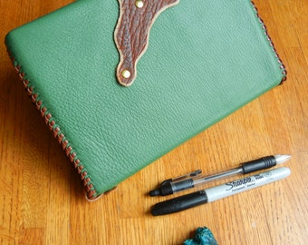 Leather Journal and Cover- Green Suede Leather with Buffalo Clasp and Bookmark