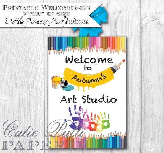 Art Party Rainbow Party Amy Atlas Featured - PRINTABLE WELCOME Door SIGN  -Cutie Putti Paperie