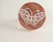 Lace Butterfly on Wooden Ring with Rhinestone Accents - The Secret Garden Collection