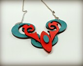 Abstract Turquoise and Coral Wooden Statement Necklace