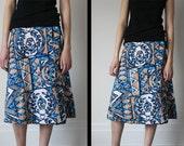 Vintage 50s 60s Retro HAWAIIAN BarkCloth Cerulean Blue & Sand TIKI Print WRAP Tie Sarong A-Line Knee Midi Skirt - Free Size