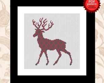 Red Deer patterned silhouette PDF cross stitch pattern
