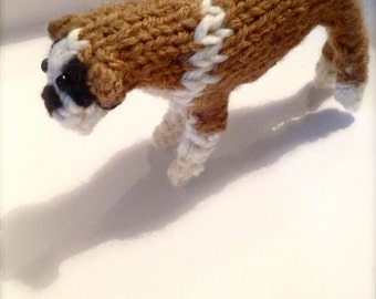 Boxer knitted dog