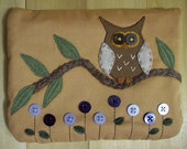 Owl In Bloom, Large Pouch
