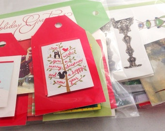 18 Handmade Holiday Gift Card Tags for Christmas Xmas Presents - red, green and white - recycled - repurposed