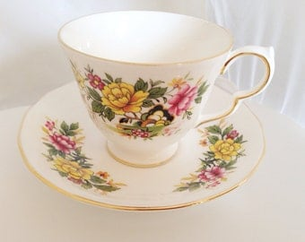 Queen Anne English Fine Bone China Vintage Teacup & Saucer Set - yellow pink rose pattern on white ground - flowers - floral - green peony